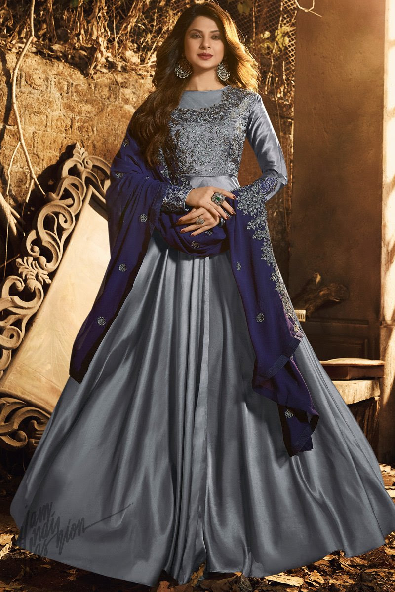 Gray and Blue Satin Silk Party Wear Gown