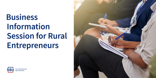 Image: Graphic header for Business Information Session for Rural Entrepreneurs