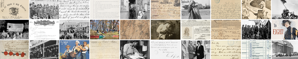 Banner of selected images for American Archives Month