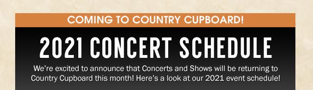 2021 Concert Schedule