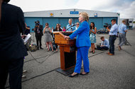 Hillary Clinton at a news conference at the Westchester airport on Thursday.