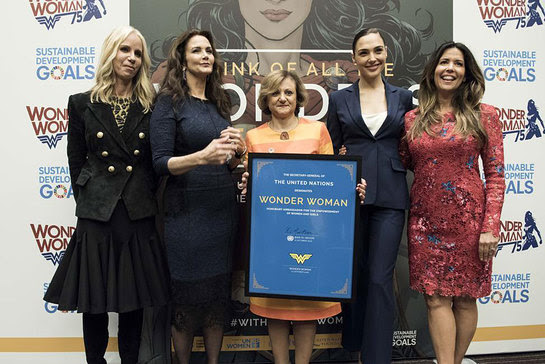 Gal Gadot, Lynda Carter and Under-Secretary-General for Communications and Public Information Cristina Gallach