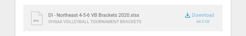 xlsx DI - Northeast 4-5-6 VB Brackets 2020.xlsx OHSAA VOLLEYBALL TOURNAMENT BRACKETS Download...