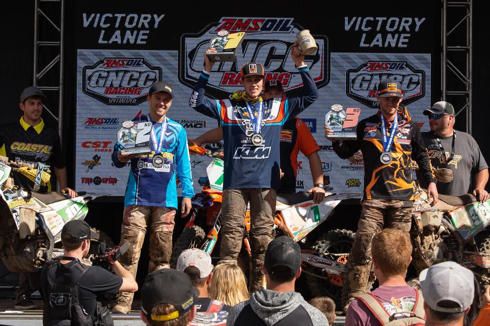 Ben Kelley (center), Craig Delong (left) and Liam Draper (right) made up the XC2 250 Pro class podium.