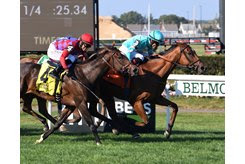 Fluffy Socks wins the Sands Point Stakes at Belmont Park