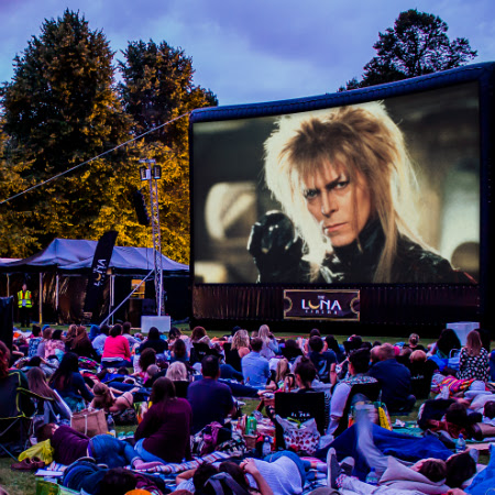 Labyrinth showing on an outdoor screen