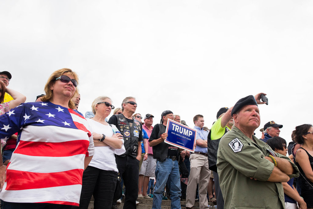 Listening to Donald J. Trump at the Rolling Thunder Memorial Day event in Washington on Sunday.