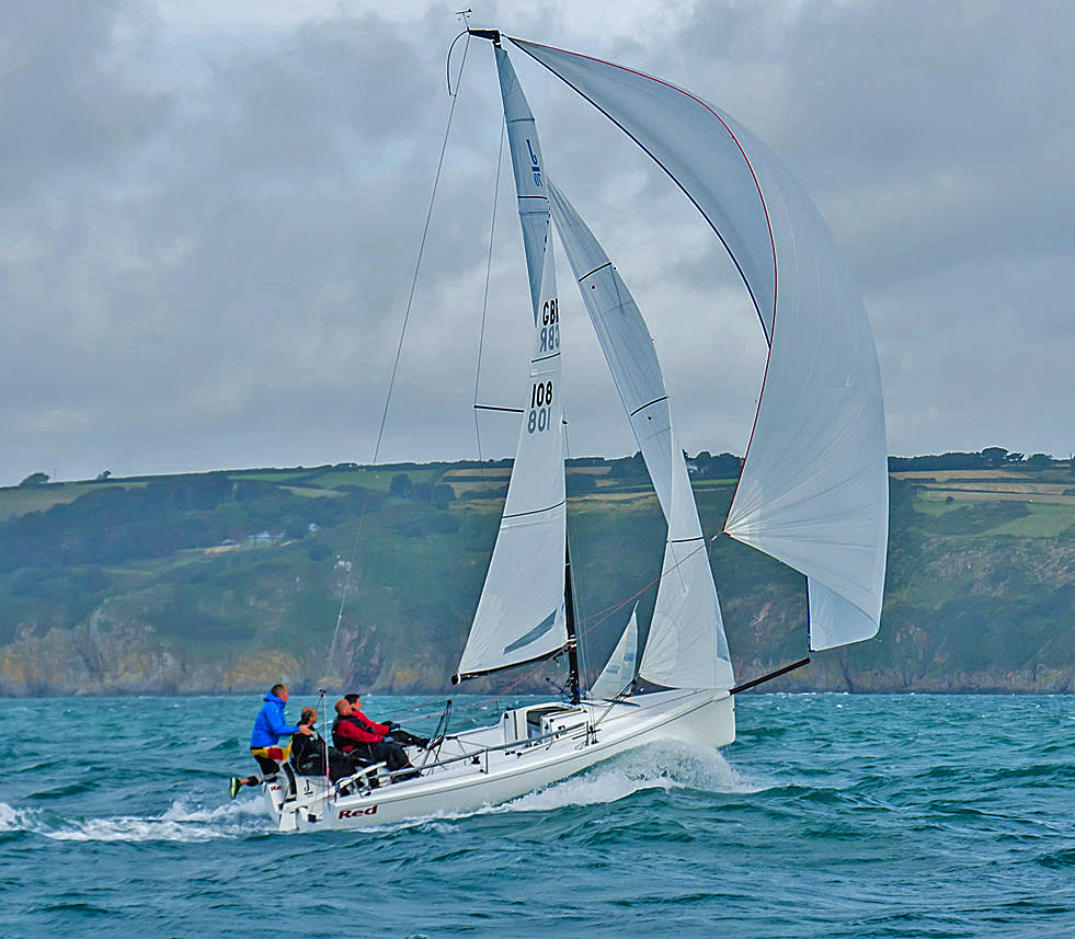 Joe Woods sailing his J/70 RED- winning Dartmouth Regatta with straight 1sts!