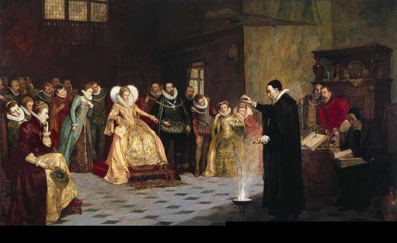 John Dee realizando un experimento ante la reina Elizabeth I. Óleo de Henry Gillard Glindoni. 1913