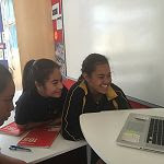 Mangere Central School Japanese students talk to their eteacher in Japan.