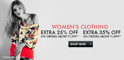 Shop worth Rs 1299 or more and get extra 25% off, Shop worth Rs 1899 or more get extra 35% off on select women's clothing.See final price in cart.