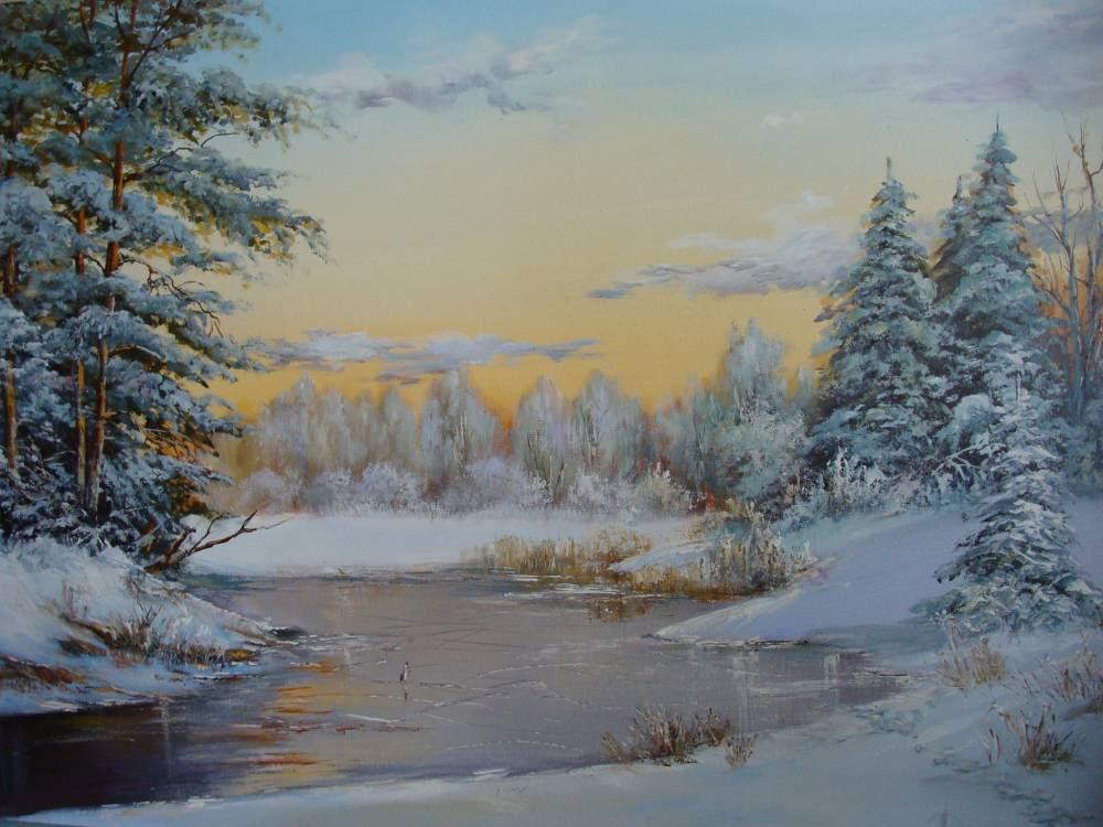 Леднев Александр Алексеевич . Замерзшая река. 1.jpg