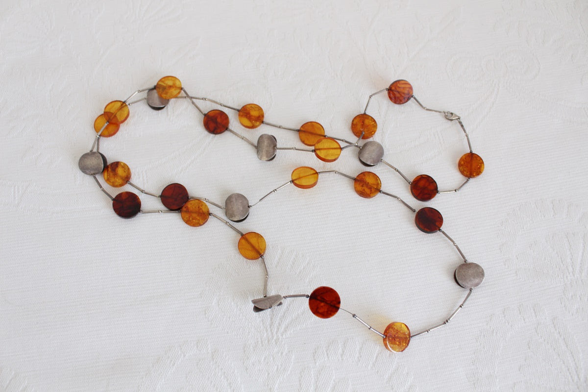 AMBER STERLING SILVER EXTRA LONG NECKLACE