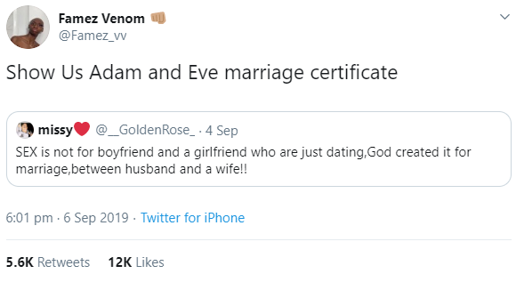 Twitter User's Reply To Someone Who Said Sex is Only For Married Couples Goes Viral