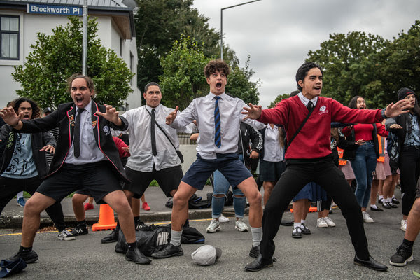 Students performing a haka near Al Noor mosque in Christchurch on Monday.