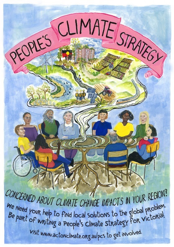 A painting of several people of different backgrounds and  physical abilities sitting around a table imagining a world with  climate justice.