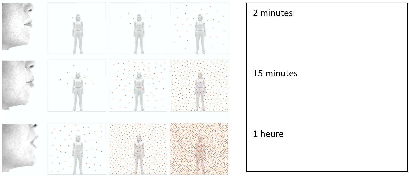Chaque point orange représente une concentration de particules respiratoires susceptibles d'infecter une personne en cas d'inhalation. En l'absence d'aération, les aérosols demeurent dans l'air et se concentrent avec le temps
