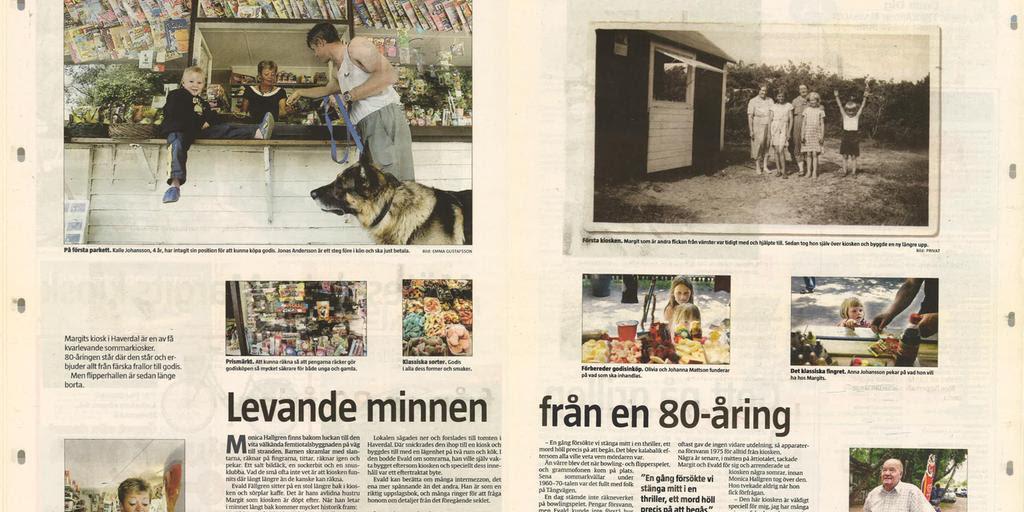 Ett uppslag från Hallandsposten från 2004 med ett reportage om Margits kiosk.