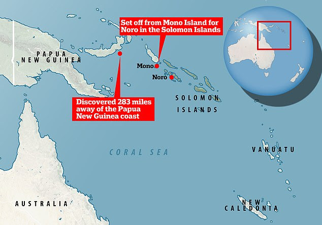 Livae Nanjikana and Junior Qoloni set off from Mono in the Shortland Islands on September 3 in a small motorboat and were eventually rescued 248 miles away by a fisherman off the coast of Papa New Guinea on October 2