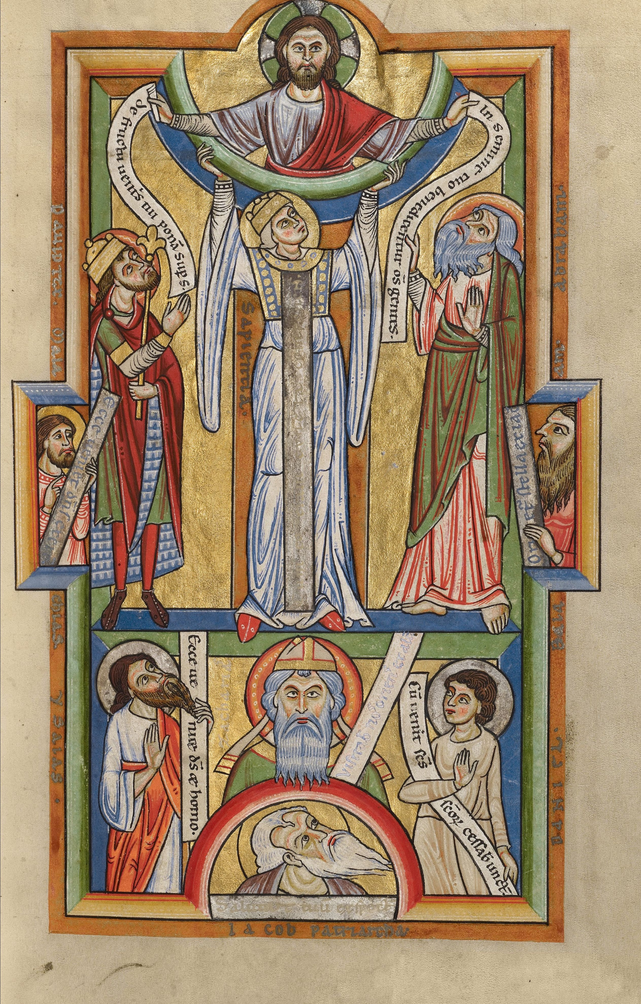 A 12th century manuscript illustration of Lady Wisdom, looking up towards Christ, surrounded by prophets