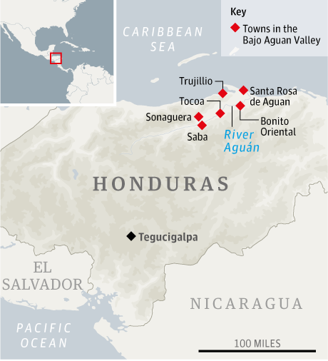 Map - Aguan Valley, Honduras