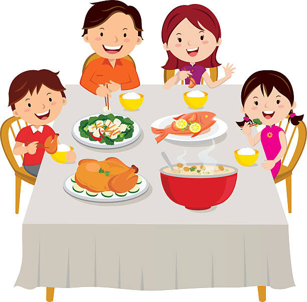 Image result for clipart picture of family eating together