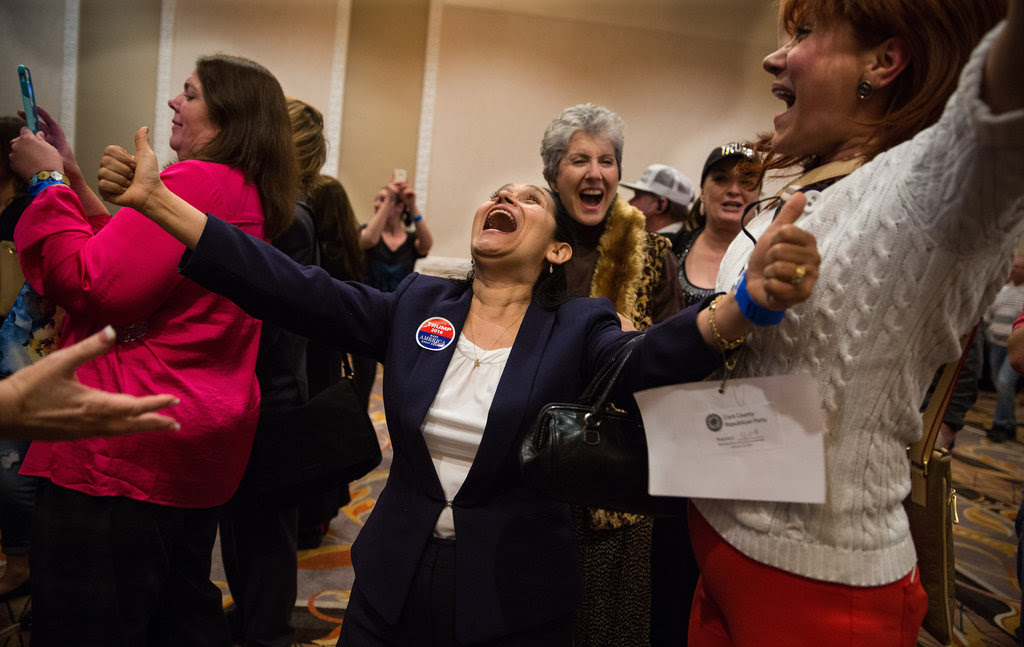 Attendees at Donald J. Trump's watch party in Las Vegas cheered after hearing the results of the Nevada caucuses on Tuesday night.