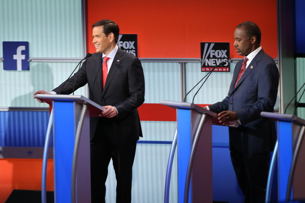 Senator Marco Rubio of Florida and Ben Carson at the first Republican presidential debate in Cleveland in August.