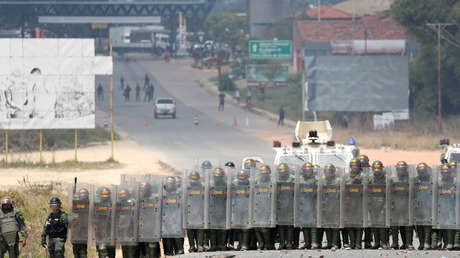 Efectivos de la Fuerza Armada Nacional Bolivariana en la frontera con Colombia, 24 de febrero de 2019