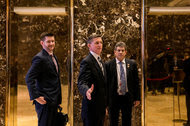 Michael G. Flynn, left, and his father, Lt. Gen. Michael T. Flynn, at Trump Tower in Manhattan last month.