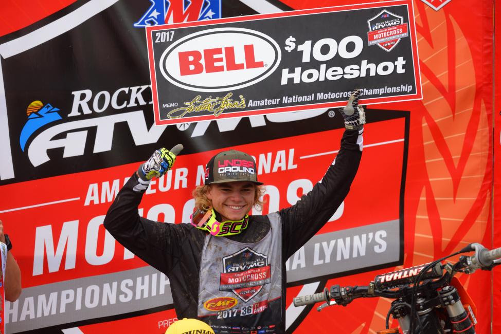 Zane Merrett earned the very first $100 Bell Helmets Holeshot Award of the 36th Annual event.