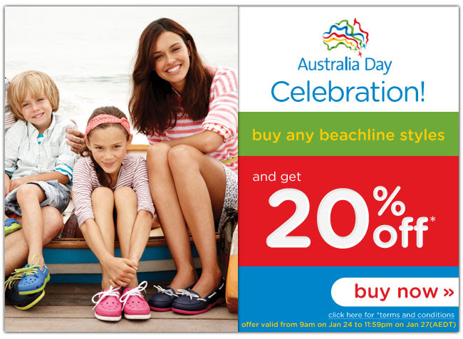 Celebrate Australia Day. Save  20% OFF Beach Line Boat Shoes + Free Shipping For Orders Over A$50 at CrocsAustralia.com.au