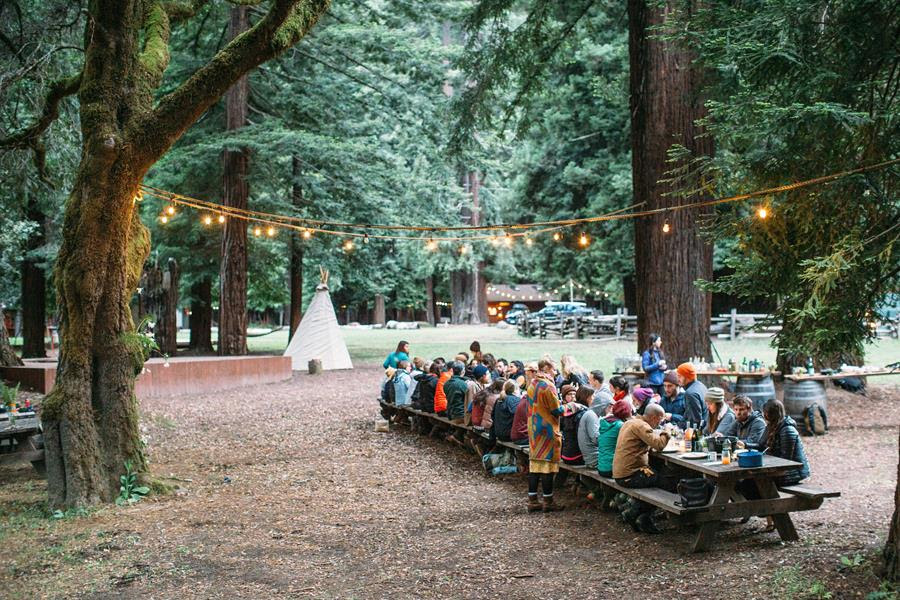 Dining under the trees at the peaceful Camp Navarro in Anderson Valley, Mendocino County, California