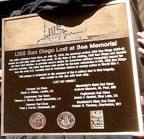 USS San Diego plaque
