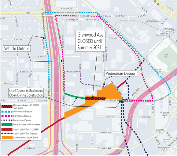 Glenwood Ave. Detour Map