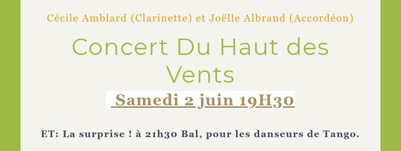 Cécile Amblard (Clarinette) et Joëlle Albrand (Accordéon) Concert Du Haut des Vents Samedi 2 juin...