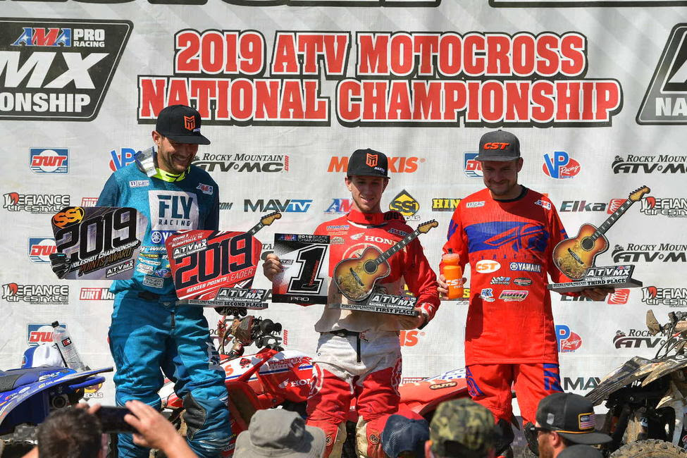 Joel Hetrick (center), Chad Wienen (left) and Thomas Brown (right) rounded out the Muddy Creek ATVMX National top three.