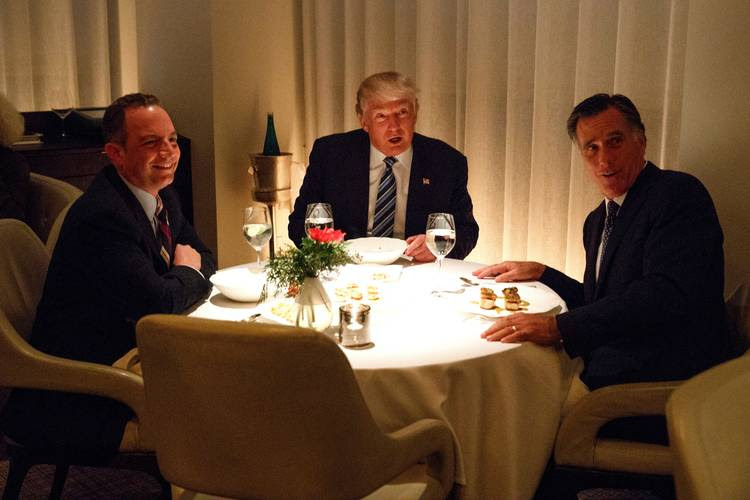 Donald Trump eats dinner with Mitt Romney and Reince Priebus at Jean-Georges restaurant in New York on Nov. 29, 2016. (Evan Vucci/AP)