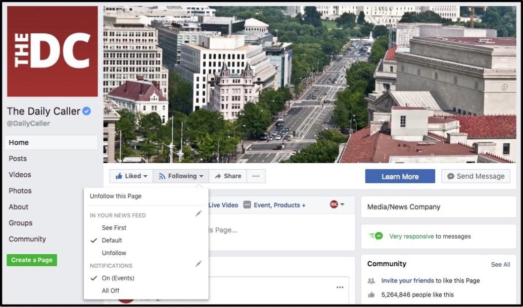Screenshot: The Daily Caller Facebook