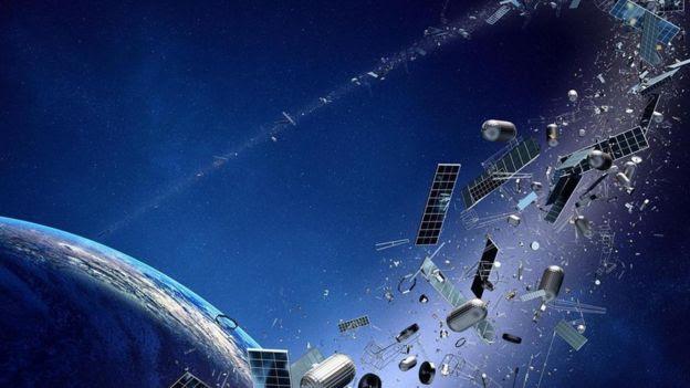 Ilustração mostra exemplos de lixo espacial