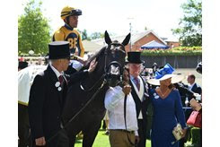 Shang Shang Shang with her connections after winning the Norfolk Stakes at Royal Ascot