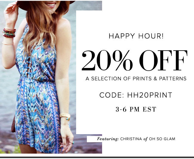 20% Off A Selection of Prints & Patterns.  Use Code: HH20PRINT