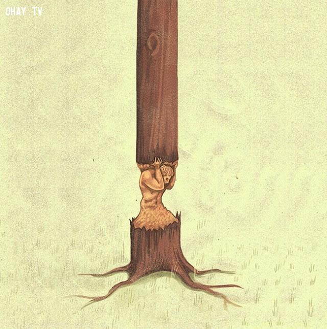 Con người đang làm hại chính bản thân mình khi tàn phá thiên nhiên.,xã hội hiện đại,tranh biếm họa