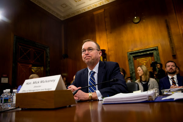 """Mick Mulvaney, the acting head of the Consumer Financial Protection Bureau, in February. On Monday, he called on Congress to reduce the independence of his agency, which he said """"is far too powerful."""""""