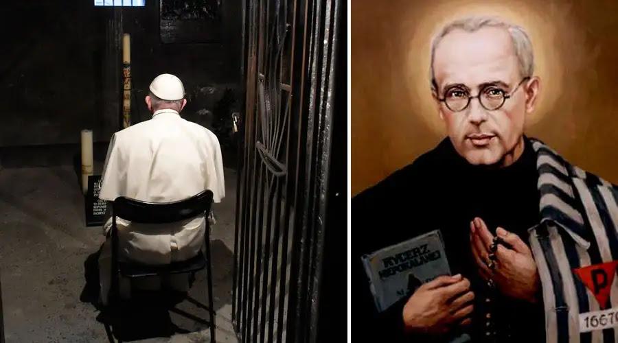"""VIDEO: El Papa visita """"celda del hambre"""" donde murió San Maximiliano Kolbe"""