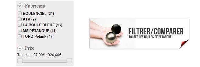 Comparateur boules de pétanque