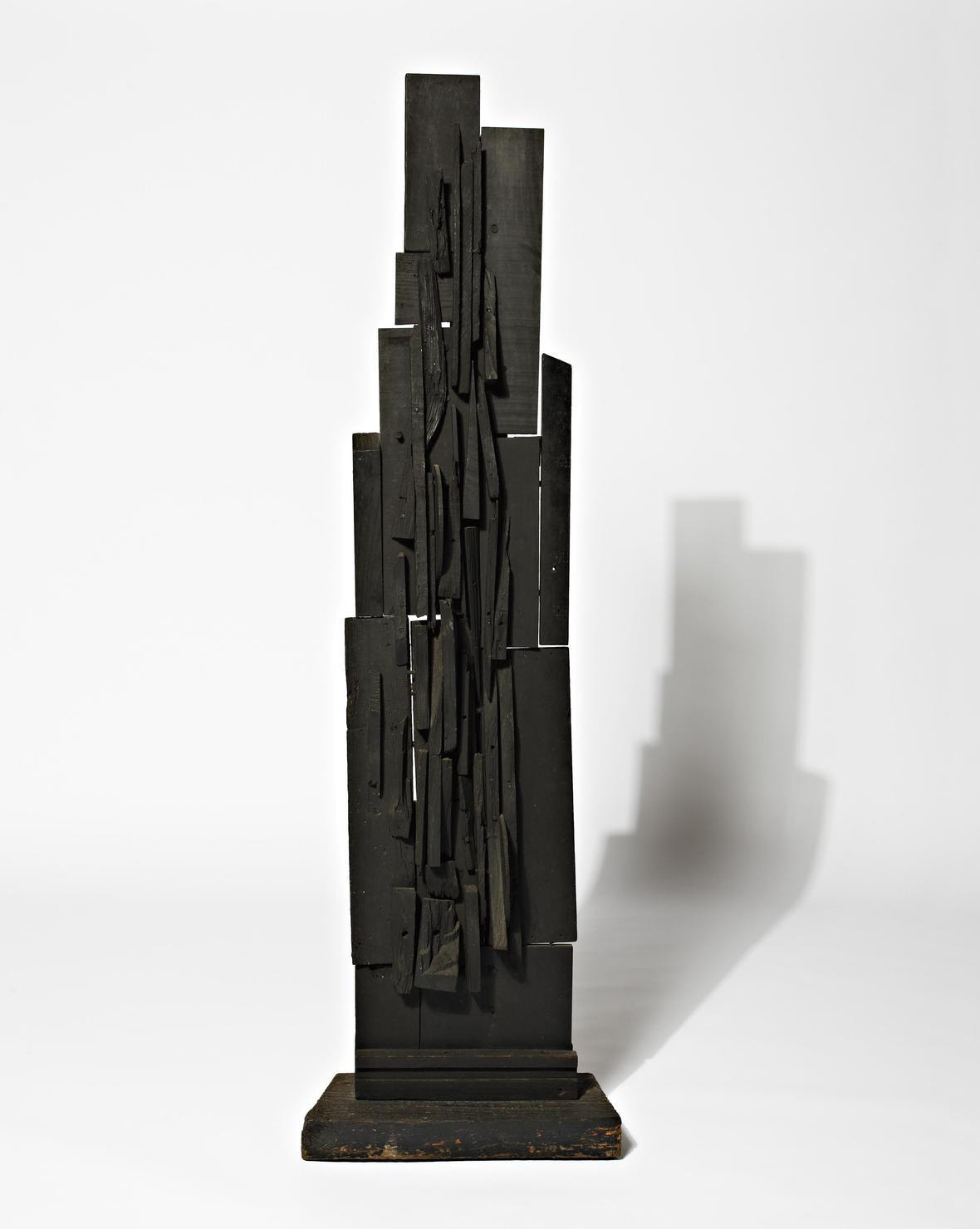 Louise Nevelson Spire 64x18375x9.5 wood painted black circa1950-1959