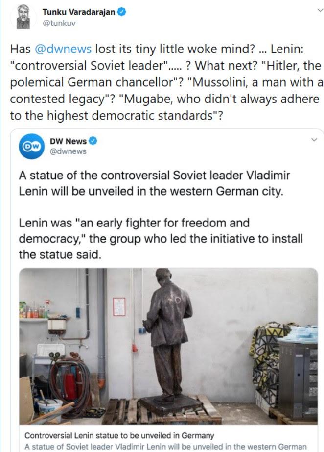 Screen shot of tweet about Lenin statue