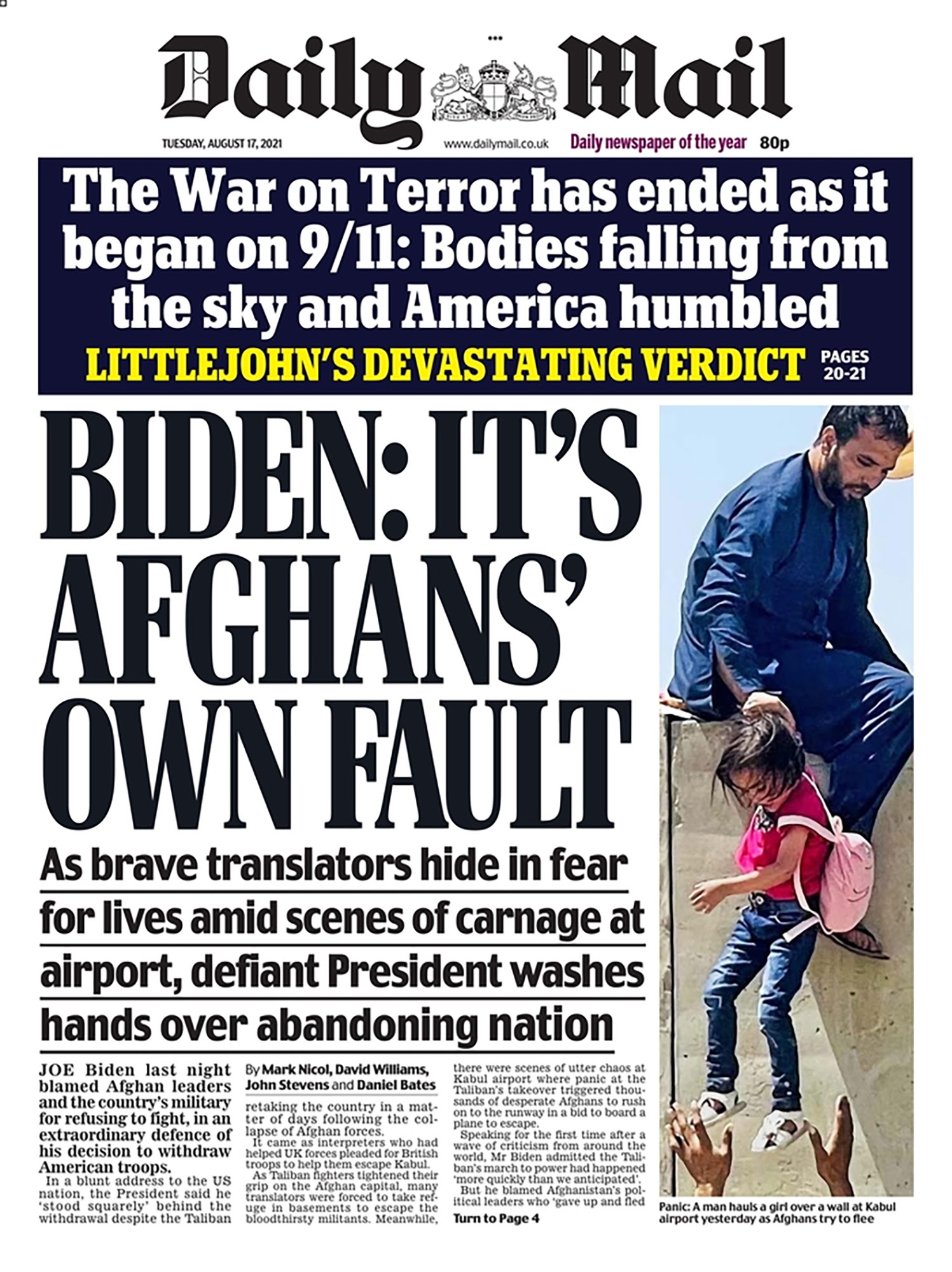 Daily Mail front page Afghanistan