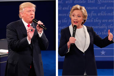 Donald J. Trump and Hilary Clinton during their second debate at Washington University in St. Louis.
